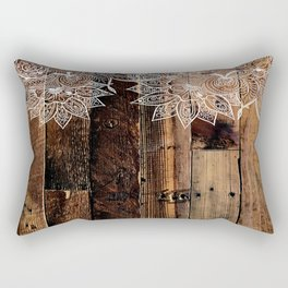 rustic country farmhouse chic vintage lace barnwood Rectangular Pillow