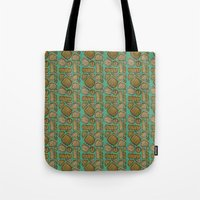 mid century Tote Bags featuring Mid century ochre by KITTY COLES