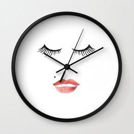 makeup print,bathroom decor,wall art,fashion print,lips print,eyelashes decor,girly,girls room art Wall Clock