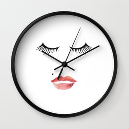 makeup print,bathroom decor,wall art,fashion print,lips print,eyelashes decor,girly,girls room art Wall Clock