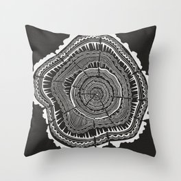 Growth Rings – 65 Years – Black Throw Pillow