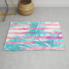 Modern pink turquoise tropical palm tree watercolor stripes pattern Rug