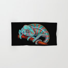Panther Chameleon Turquoise Blue & Coral Red Hand & Bath Towel