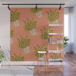 ZZ Plant Art on Terra cotta background Wall Mural