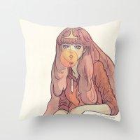 bubblegum Throw Pillows featuring Bubblegum by Little Thunder