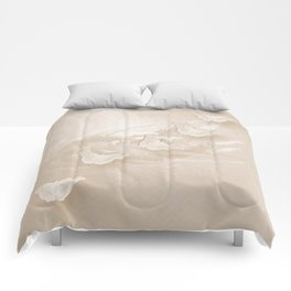 Fabulous butterflies and wattle with textured chevron pattern in subtle iced coffee Comforters