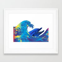 hokusai Framed Art Prints featuring Hokusai Rainbow & Dolphin by FACTORIE
