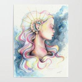 """Andromeda"" Watercolour Space Princess Portrait Poster"