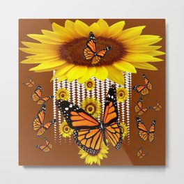 FANCIFUL  MONARCH BUTTERFLIES & SUNFLOWERS COFFEE BROWN Metal Print