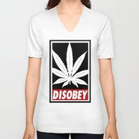 cannabis V-neck T-shirts featuring Cannabis Disobey by Spyck
