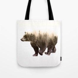 In It's Element - Brown Bear Double Exposure Art Print Tote Bag