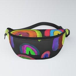 Vivid Watercolor Rainbows in Black Fanny Pack
