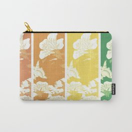Japanese Birds & Flowers Panel Art earth tones 4 Carry-All Pouch