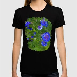 Summer Green Meadow and Blue Flowers T-shirt