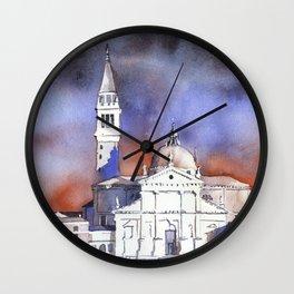 Church of San Giorgio Maggiore in Venice, Italy.  Colorful Venice church watercolor  Wall Clock