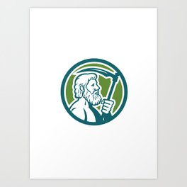 Cronus Holding Scythe Circle Retro Art Print