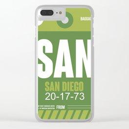 SAN San Diego Luggage Tag 2 Clear iPhone Case