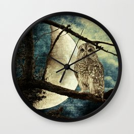 Barred Owl Bird Night Moon Blue Tans Country Art A137 Wall Clock