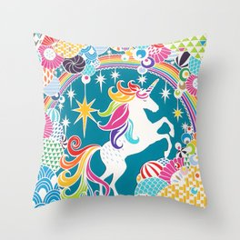 Rainbow Unicorn Hand-Cut Papercut Throw Pillow