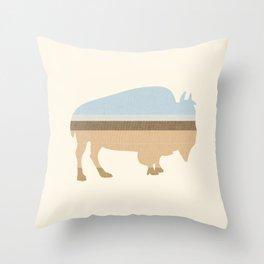 Buffalo on the Plain Throw Pillow