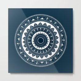 Ukatasana white mandala on blue Metal Print