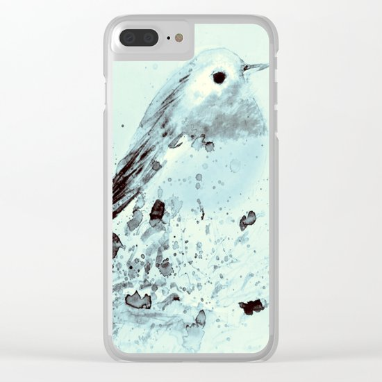 Robin in blue Clear iPhone Case