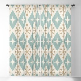 Mid Century Modern Atomic Triangle Pattern 102 Sheer Curtain