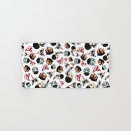 Pop Cats - Pattern on White Hand & Bath Towel