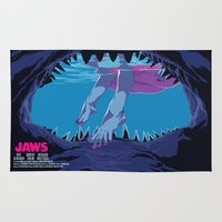 jaws Area & Throw Rugs featuring JAWS by Mike Wrobel