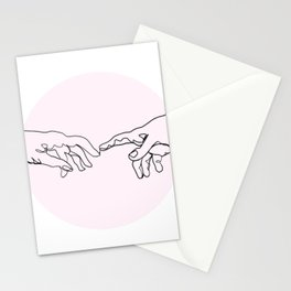 Connection (Creation of Adam Line Drawing) Stationery Cards