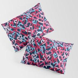 Colorful  Hearts - Graffiti Style Pillow Sham