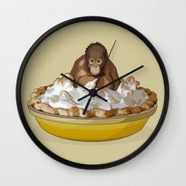 Lemon 'Merangutan' Pie - Orangutan Monkey in Lemon Meringue Pie Wall Clock