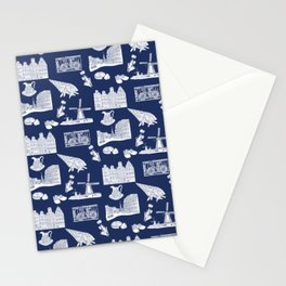 Netherlands Toille de Jouy pattern in Delft Blue background Stationery Cards