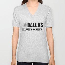 Dallas City GPS Coordinates Souvenir USA Travel Gift Idea Unisex V-Neck