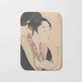 Vintage Japanese Ukiyo-e Woodblock Print Woman Portrait II Bath Mat