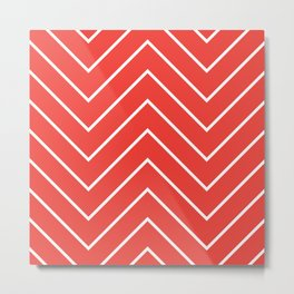 Yacht style design. Red chevron. Metal Print
