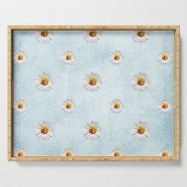 Daisies in love- blue pattern Serving Tray