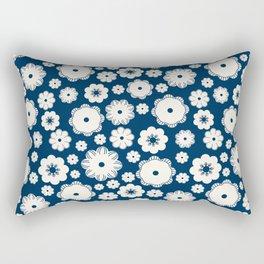 Beige flowers on a dark blue Rectangular Pillow