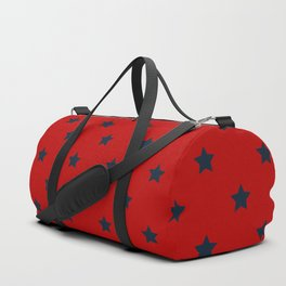 Navy Blue Stars Pattern on Red Background Duffle Bag