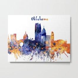 Colorful watercolor Oklahoma skyline Metal Print