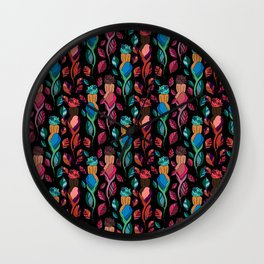 Afros, Blooms, Pink, and Blue Wall Clock