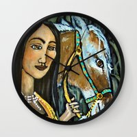 native Wall Clocks featuring Native by Spirit Works Art