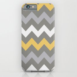 Mustard Gray White Zig Zag Pattern iPhone Case