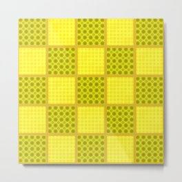 Yellow Checks Metal Print