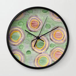 Luminous Ringed Circles on Green Wall Clock