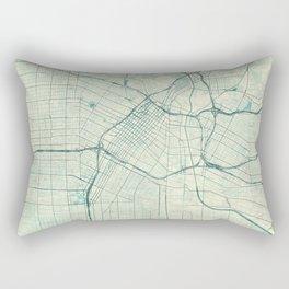 Los Angeles Map Blue Vintage Rectangular Pillow
