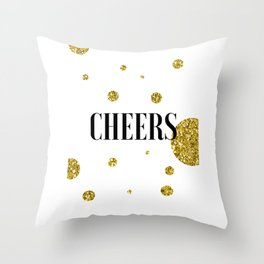Champagne Quotes Cheers POP FIZZ CLINK Sign Printable Art Foil Print Gold Foil Alcohol Quote Throw Pillow