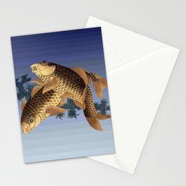Hokusai – two carps -葛飾 北斎,engraving,carpa, fish. Stationery Cards