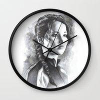 katniss Wall Clocks featuring Katniss by Nienke Feirabend