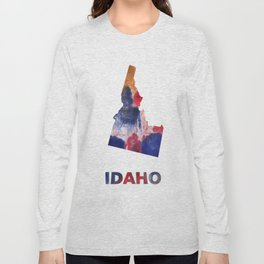 Idaho map outline Red blue brown watercolor painting Long Sleeve T-shirt